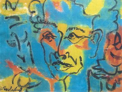 Nỗi cô đơn của ông không còn là những nét nguyệch ngoạc, nó đã phủ đầy sơn trên bức tranh rồi. (tranh Đào Trọng Lưu)